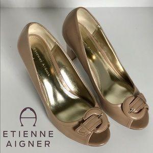 Etienne Aigner Buckle PeepToe Patent Leather Pumps